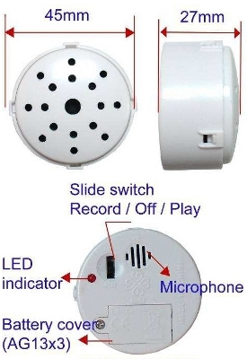 10 Sec Recording Module in White Case with 3 Section Slide Switch