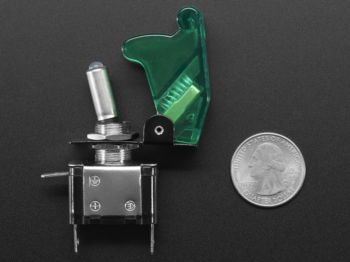 Illuminated Toggle Switch with Cover - Green