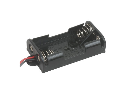 2x AA Battery Holder with Wires and Mounting Tabs