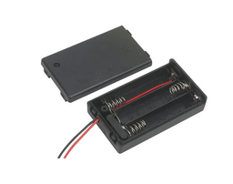 [JA-6312] Battery Holder 3-AAA Wires with Cover and Switch 26 AWG