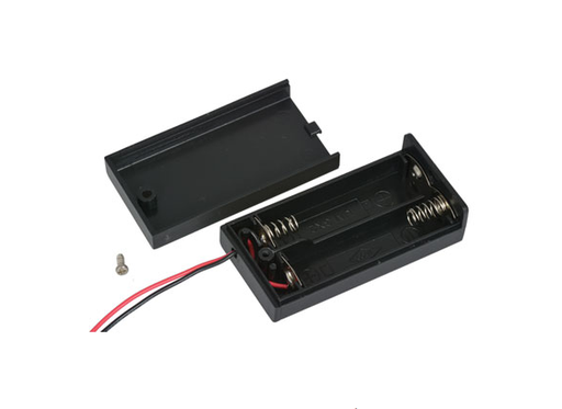 Battery Holder 2-AA Wires With Cover No Switch