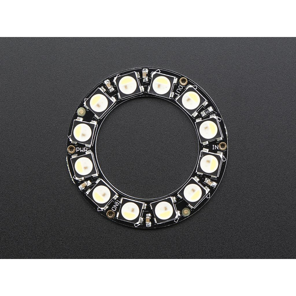 NeoPixel Ring - 12 x 5050 RGBW LEDs w/ Integrated Drivers - Cool White - ~6000K