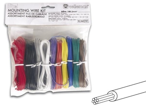 10 Color - Stranded Mounting Wire Kit 60m