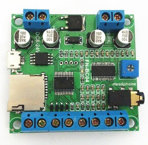 4 Buttons Triggered MP3 Player Board with 10W Amplifier and Terminal Blocks